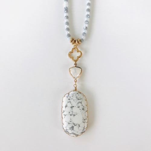 White Marbled Stone Beaded Necklace