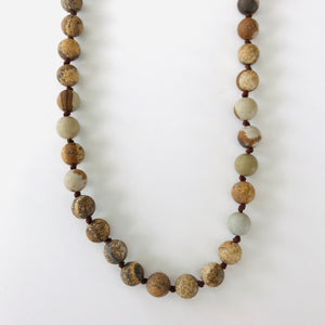 Earthy Beaded Leather Necklace
