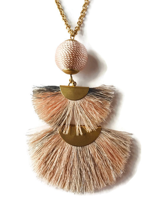Fan Tassel Necklace - Blush