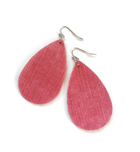 Red-Pink Teardrop Faux Leather Earrings