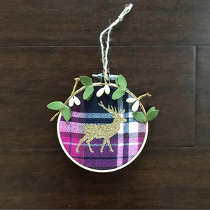 Pink Plaid Deer Ornament