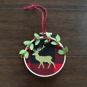 Red Plaid Deer Ornament