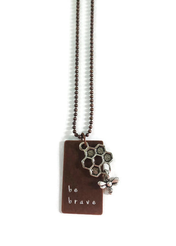 Be Brave Hand Stamped Necklace