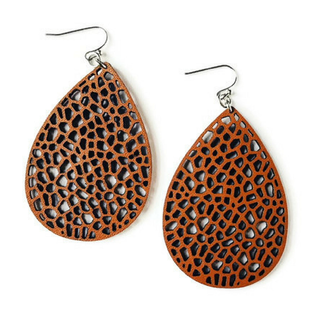 Brown Faux Leather Lace Earrings