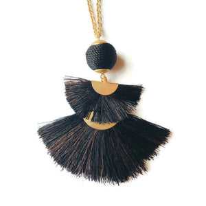 Fan Tassel Necklace - Black and Copper