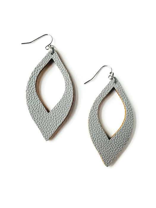 Grey Faux Leather Earrings