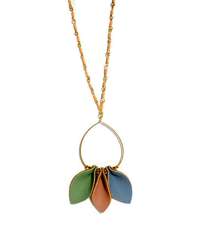 Tri-Color Leaf Necklace