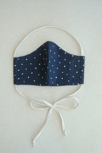 NAVY LINEN AND DOT MASK