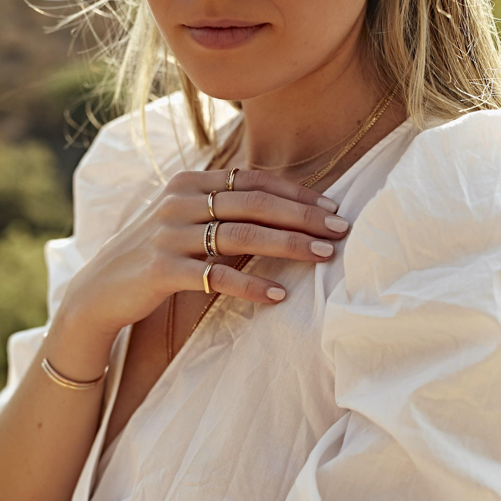 delicate stacking fine gold rings