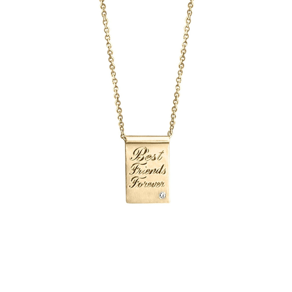 14k Gold Diamond Freckle Engraved Necklace by Fewer Finer