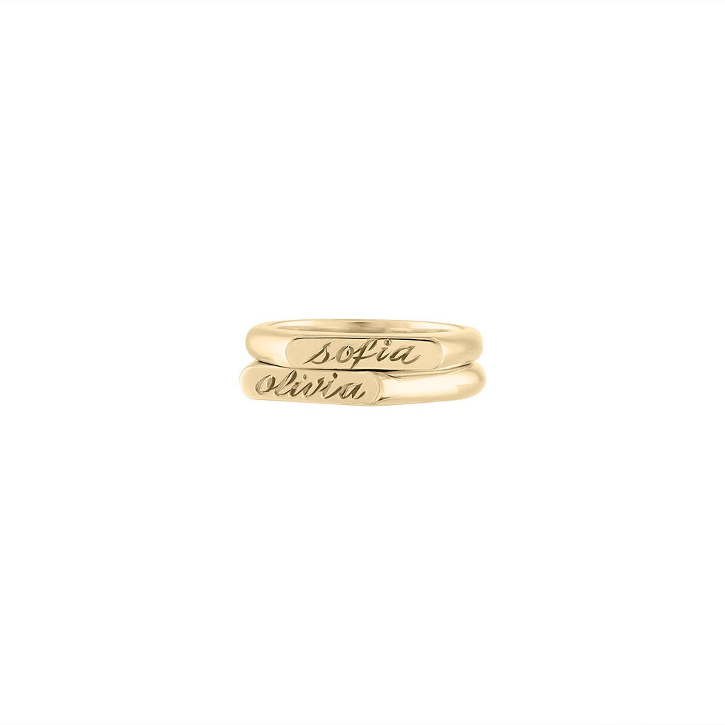 Hand Engraved Kismet Signet Ring for Women