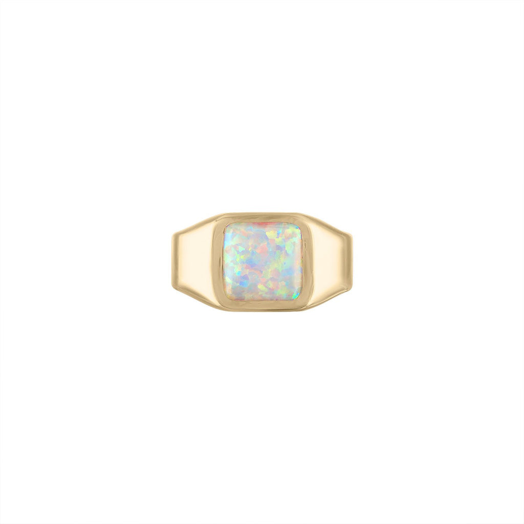 Opal Stamp Signet Ring