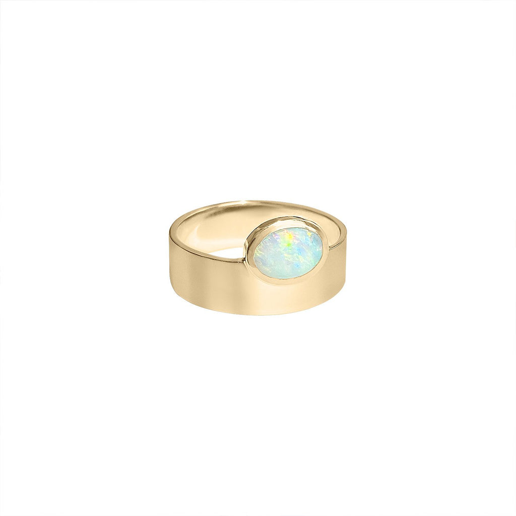 Smoke and an Opal Gold Ring by Fewer Finer
