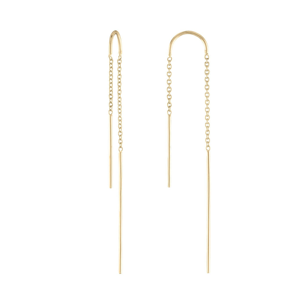 Thread Through Chain Earrings by Fewer Finer