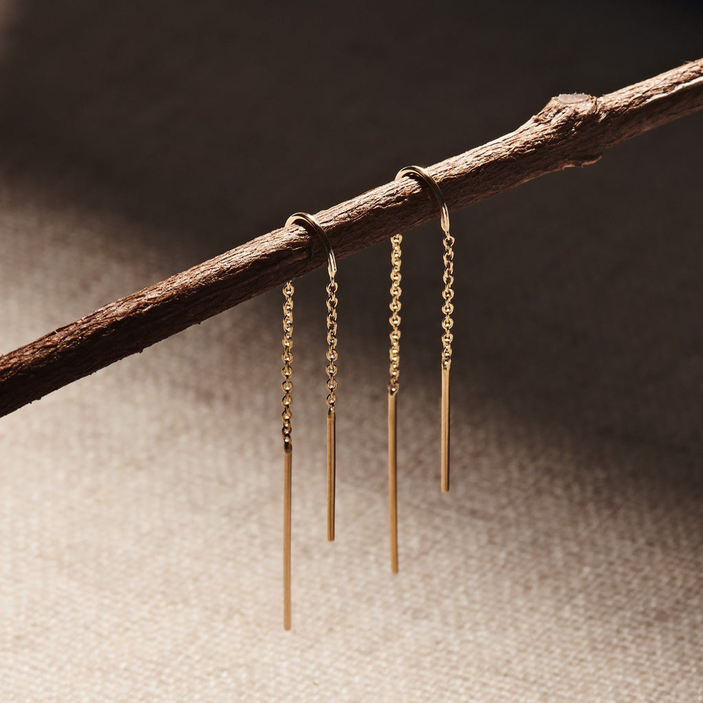 Thread Through Chain Earring