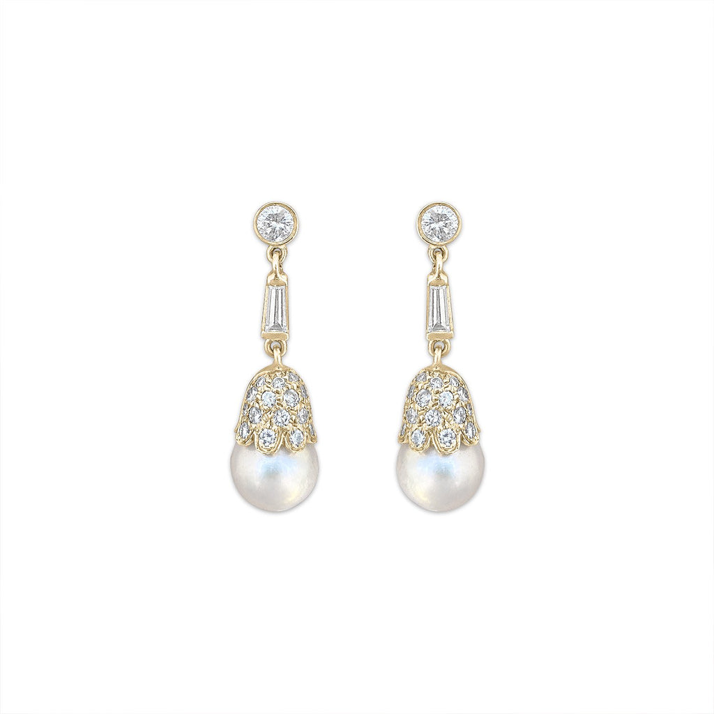 Vintage Cultured Pearl & Diamond Earrings by Fewer Finer