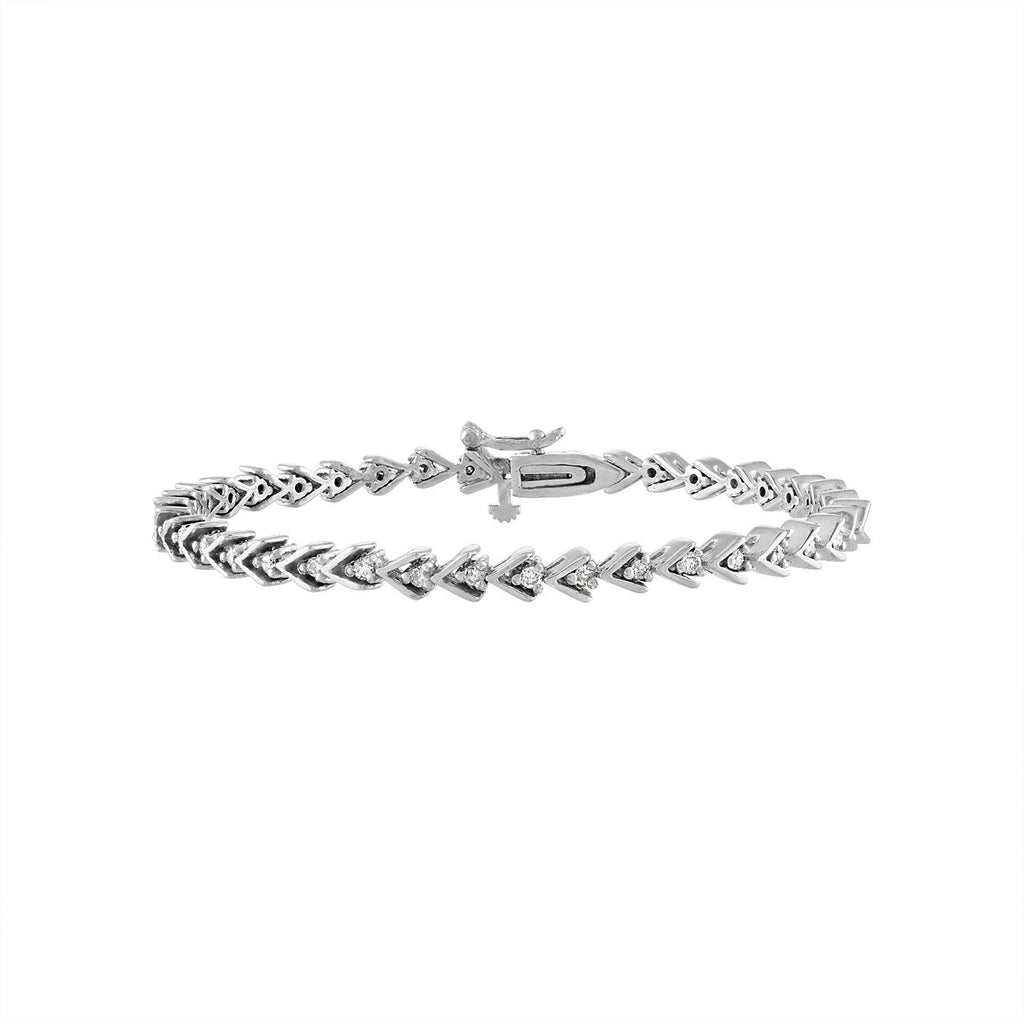 Vintage White Gold Diamond Arrow Tennis Bracelet by Fewer Finer
