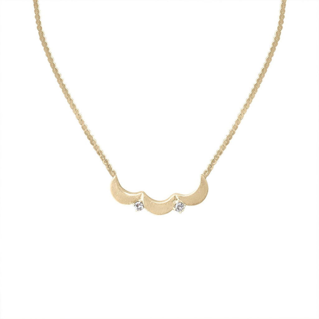 Vintage Gold and Diamond Scalloped Necklace by Fewer Finer