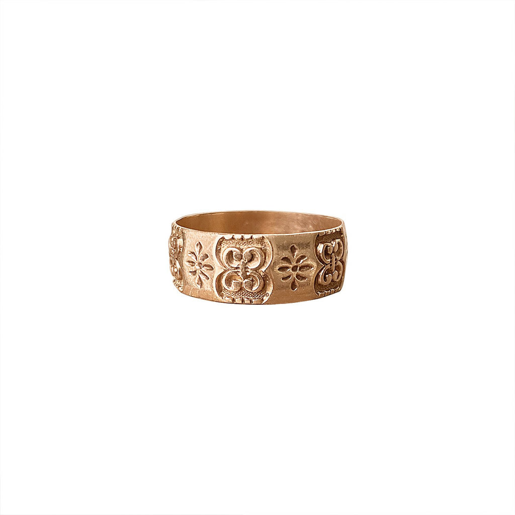 Vintage Rose Gold Pattern Ring by Fewer Finer