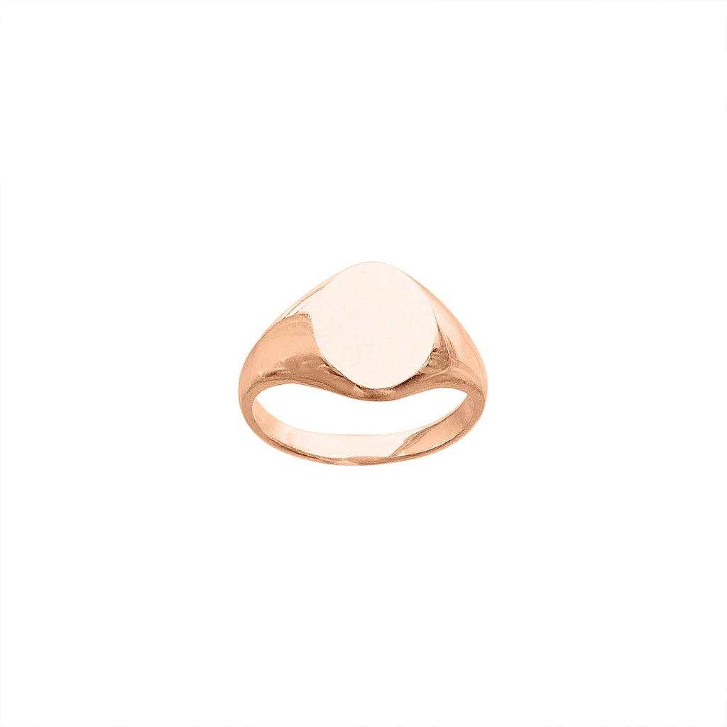 Vintage 14k Rose Gold Oval Signet Ring by Fewer Finer