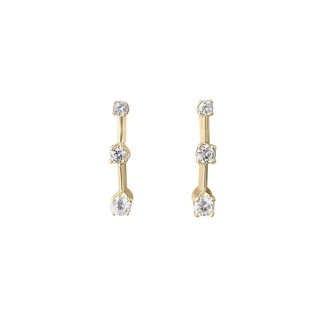 Vintage Diamond Drop Earring Pair