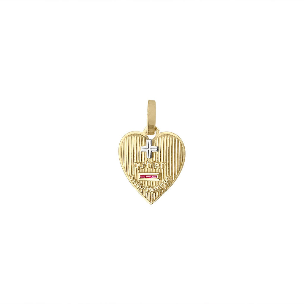 "Vintage French ""+ qu'hier - que demain"" Heart Charm by Fewer Finer"