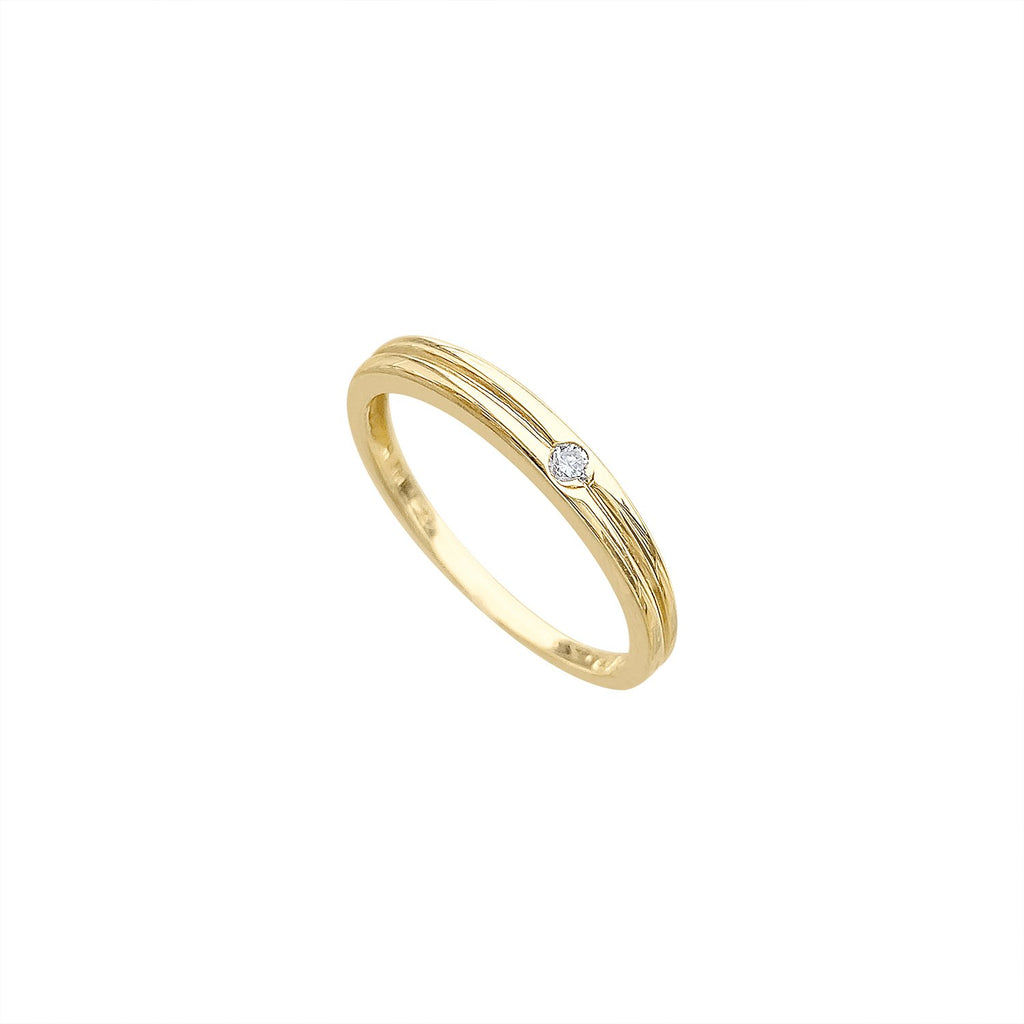 Gold Ring with One Round Diamond by Fewer Finer