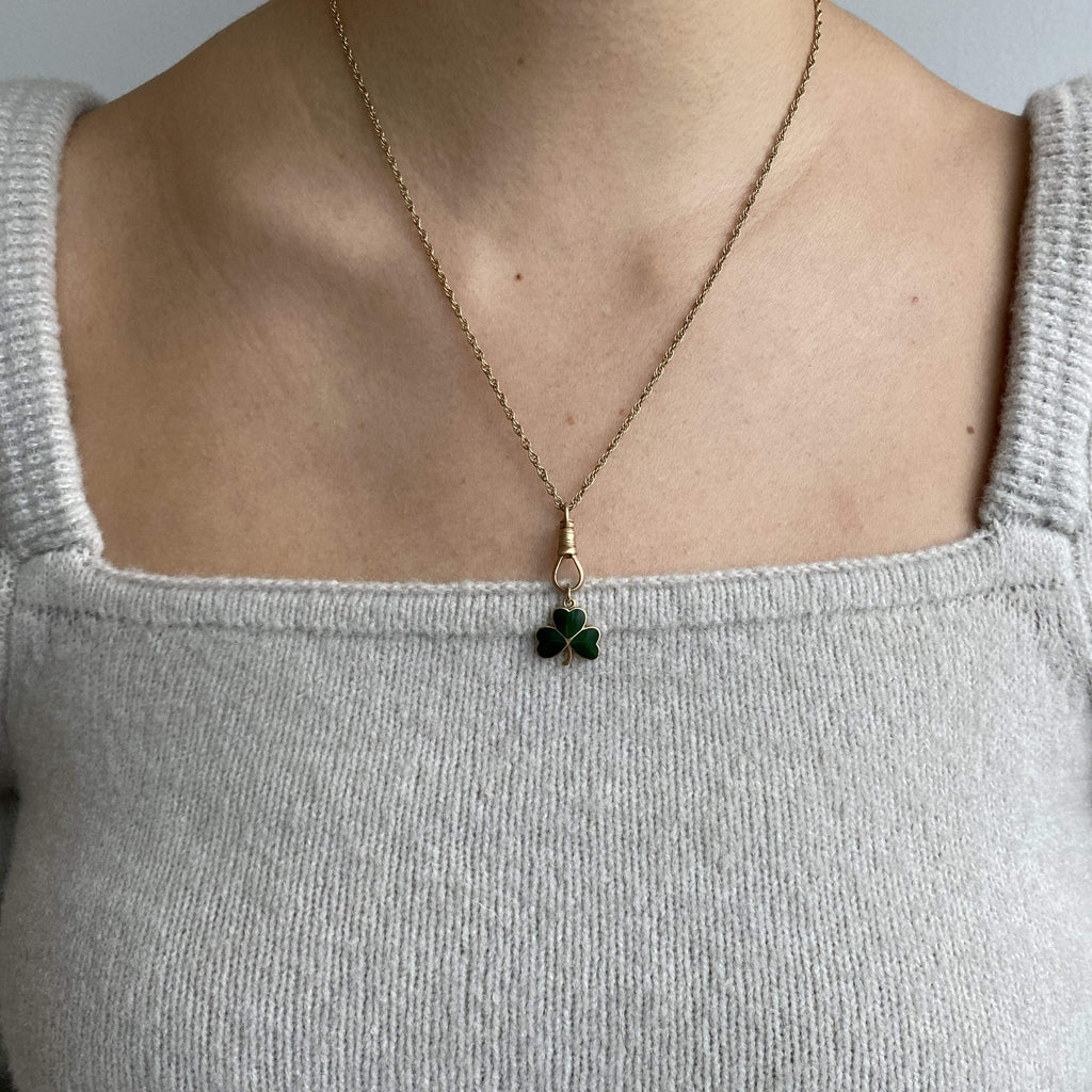 Vintage Green Enamel Clover Charm for Women