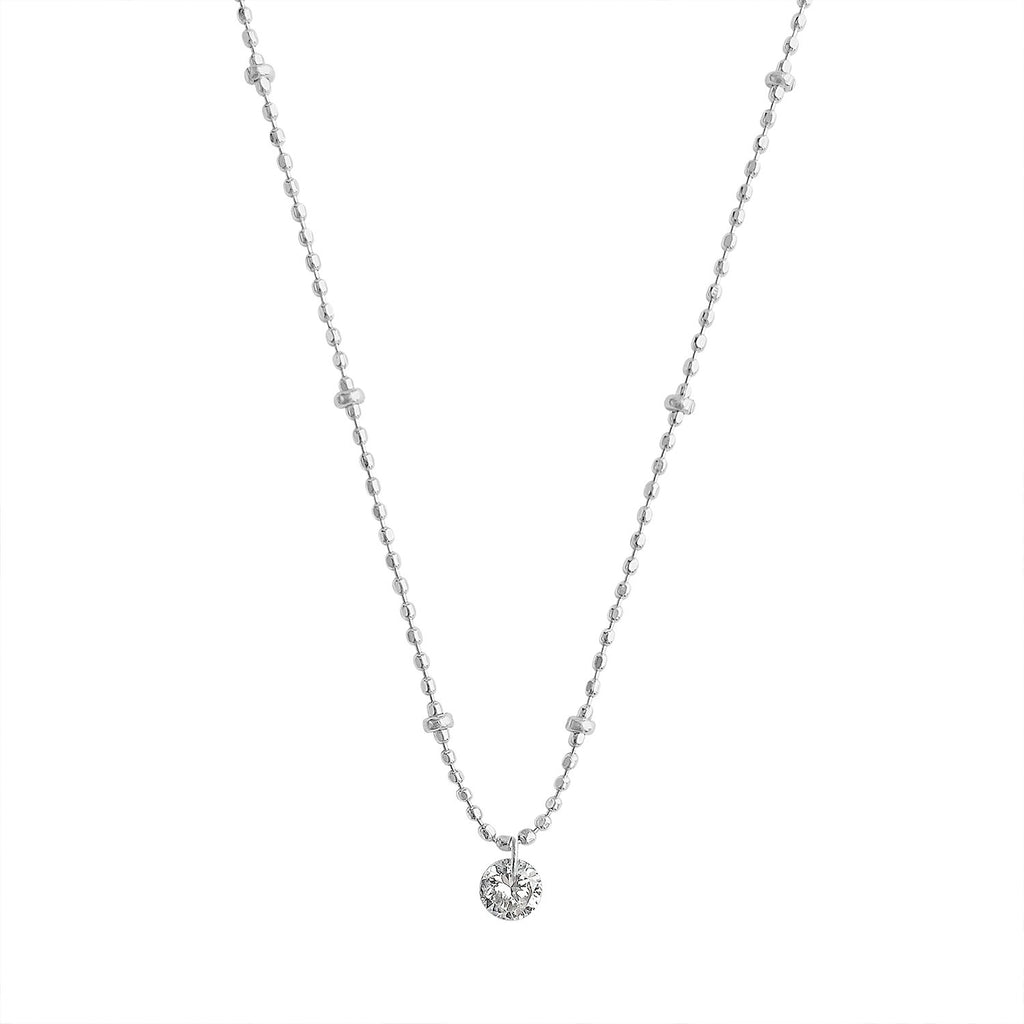 Vintage Pierced Diamond on White Gold Diamond Cut Chain by Fewer Finer