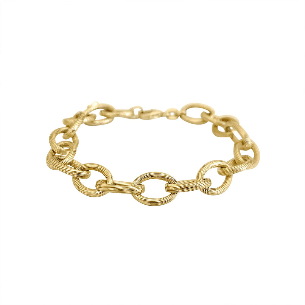 Vintage Piped Link Chain Bracelet by Fewer Finer