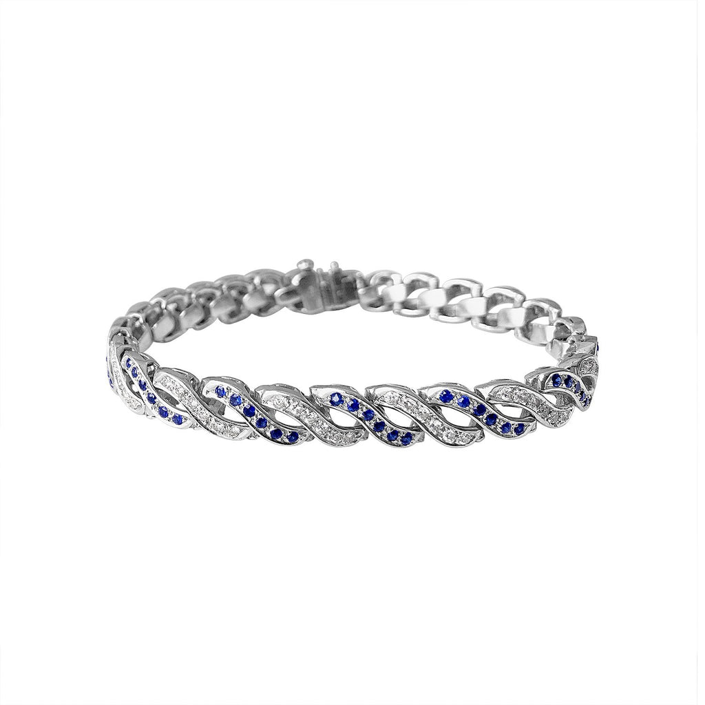Vintage Sapphire and Diamond Twist Bracelet by Fewer Finer