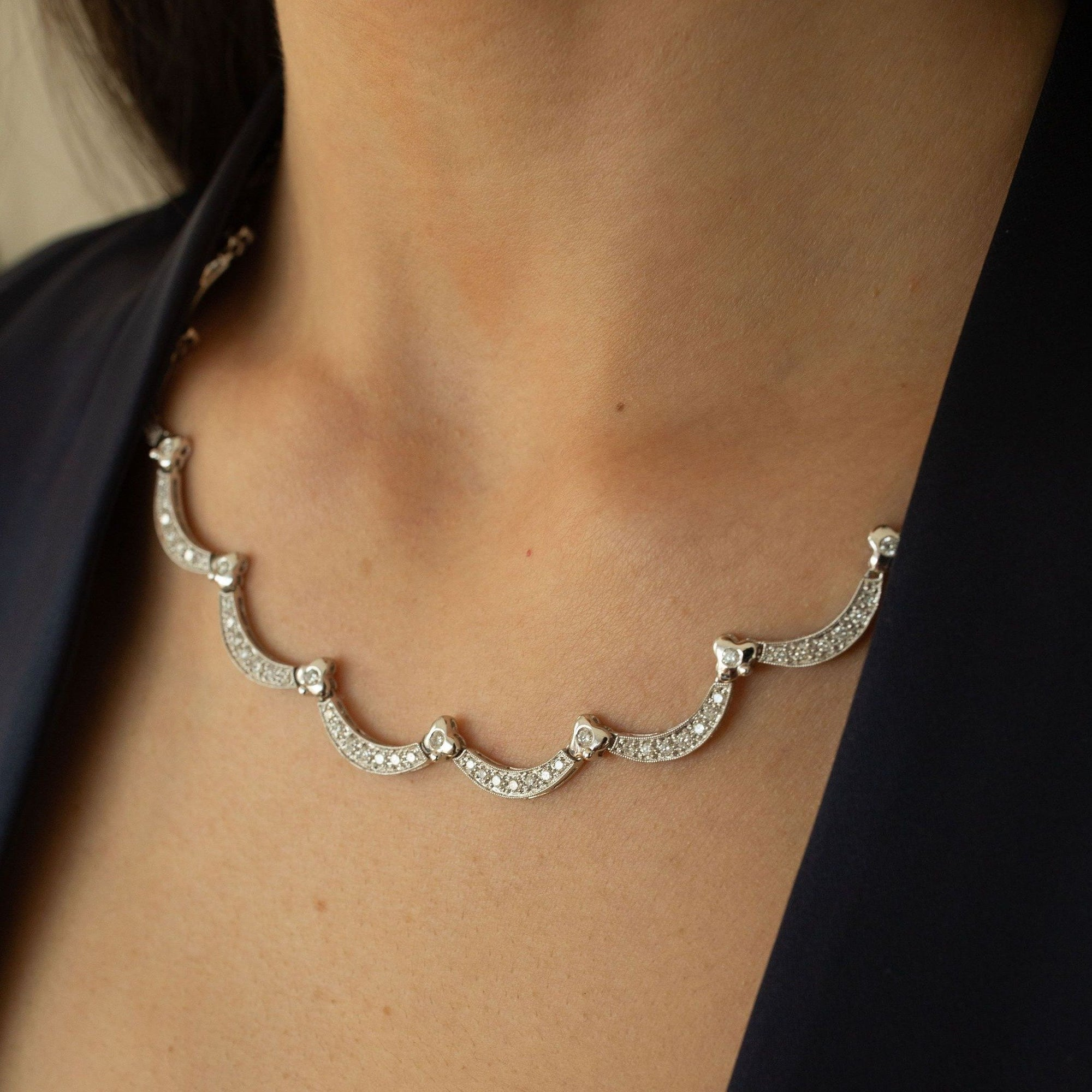 Vintage Scalloped White Gold and Diamond Eternity Necklace by Fewer FIner