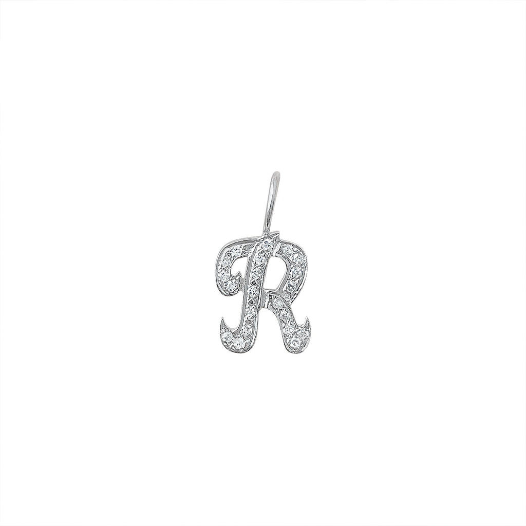 "Vintage White Gold Letter ""R"" with Diamonds Charm by Fewer Finer"