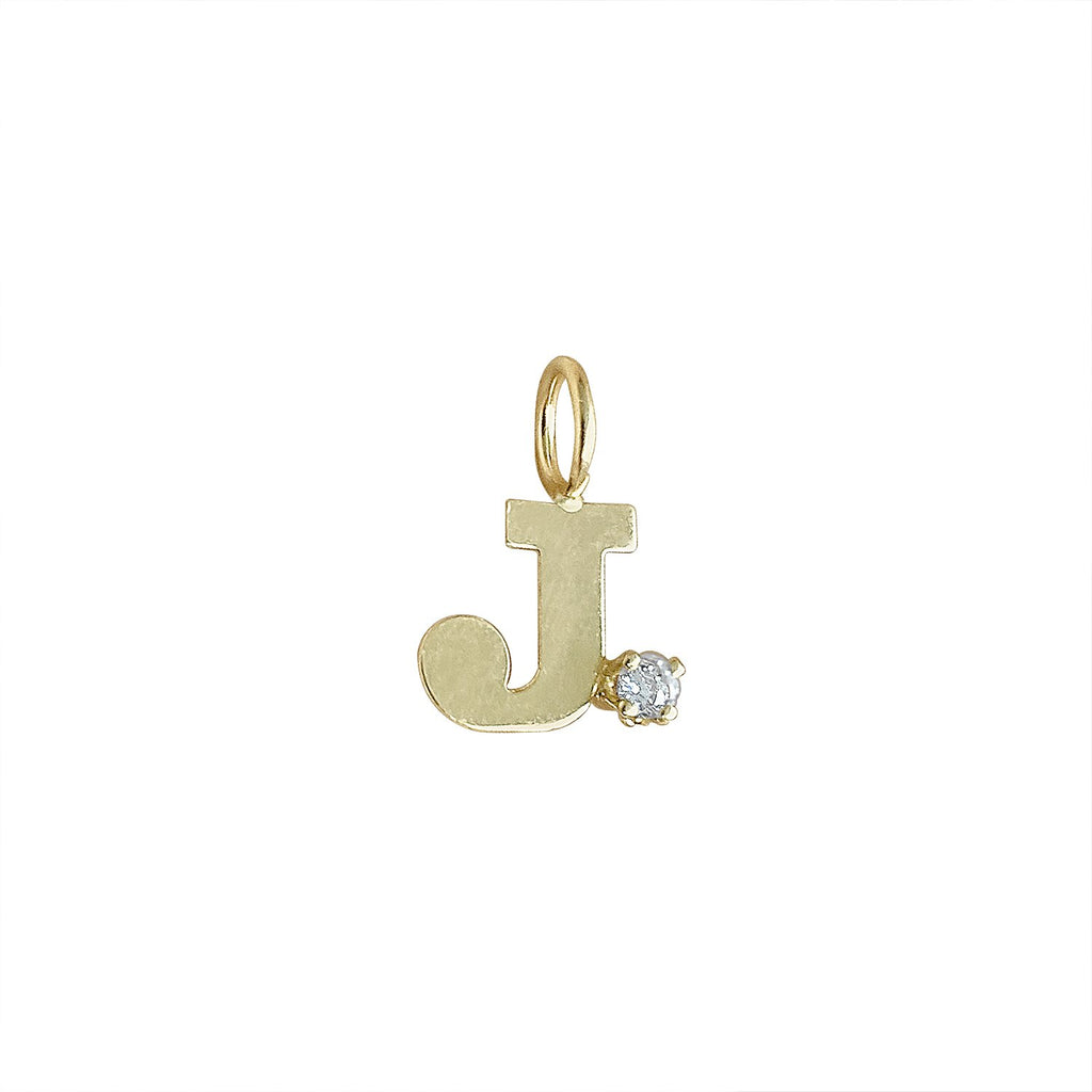"Vintage ""Letter ""J"" with Diamonds Charm"