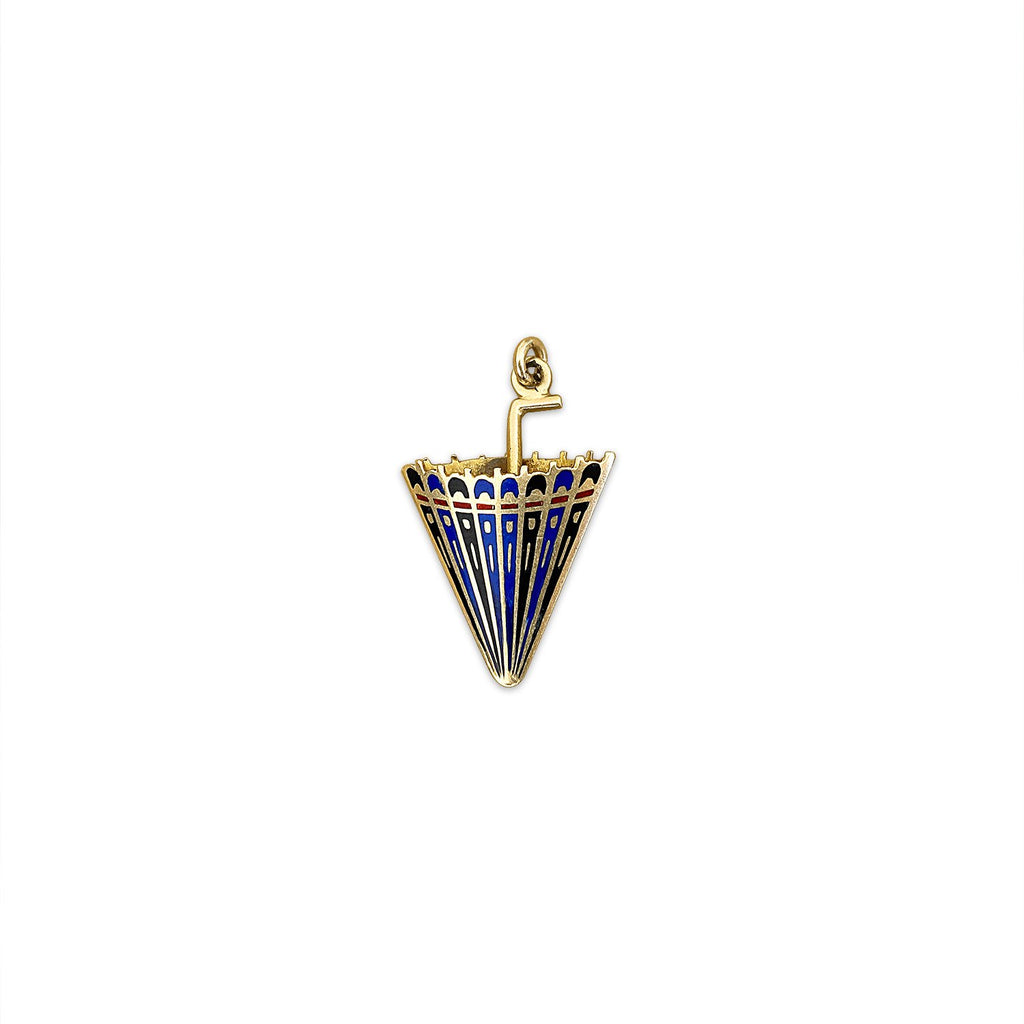 Vintage Enamel Umbrella Charm by Fewer Finer