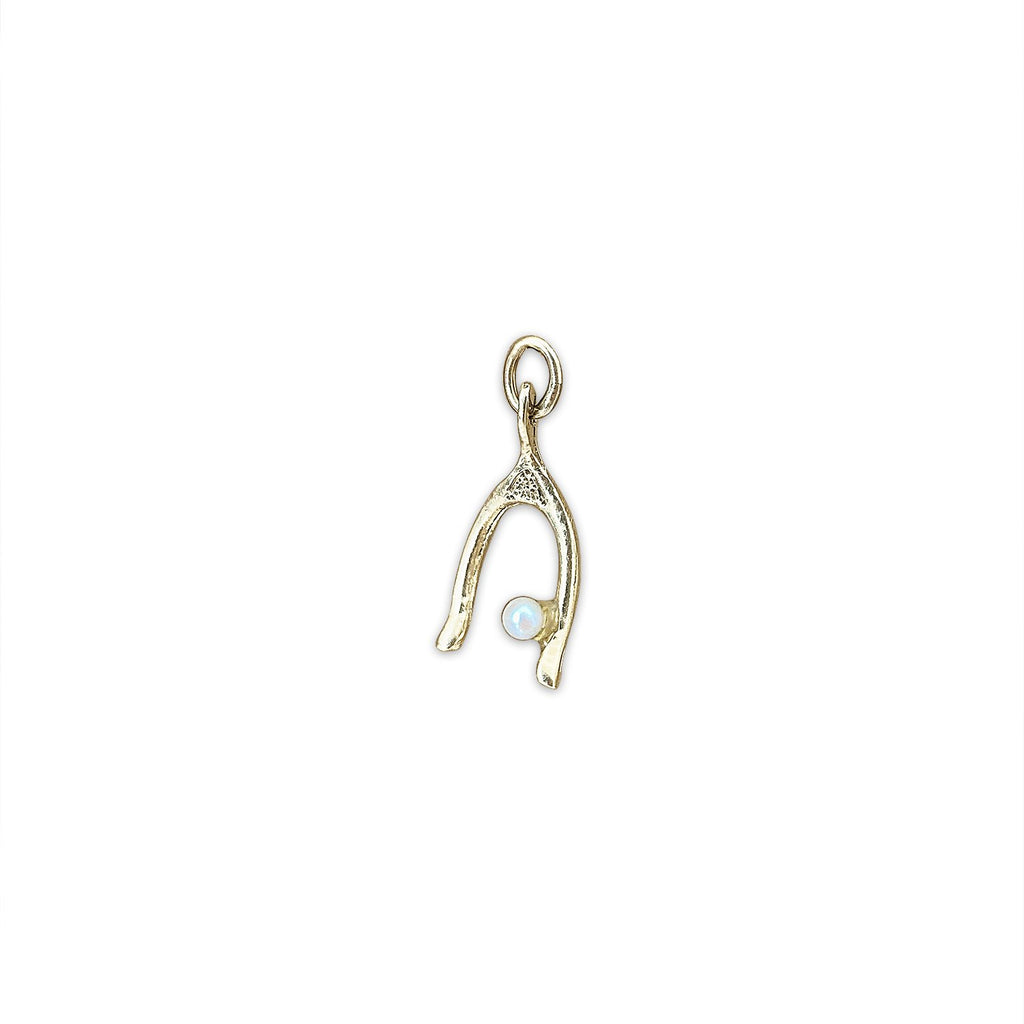 Vintage Wishbone and Pearl Charm