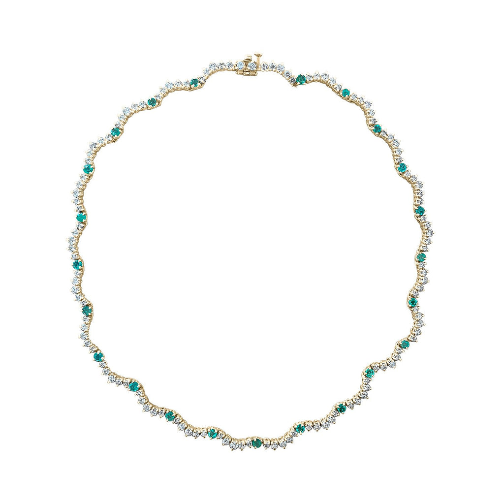 Vintage Diamond and Emerald Scalloped Eternity Necklace