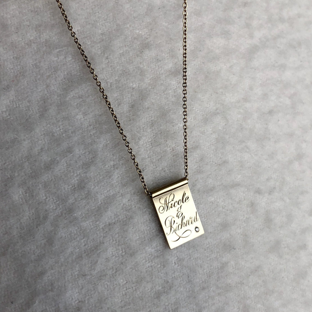 Diamond Freckle Tag Necklace [product type] - Fewer Finer