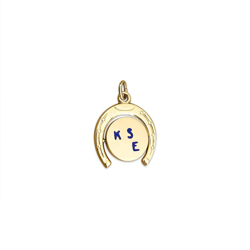 14k Gold Vintage 'Kiss Me' Spinner Horseshoe Charm