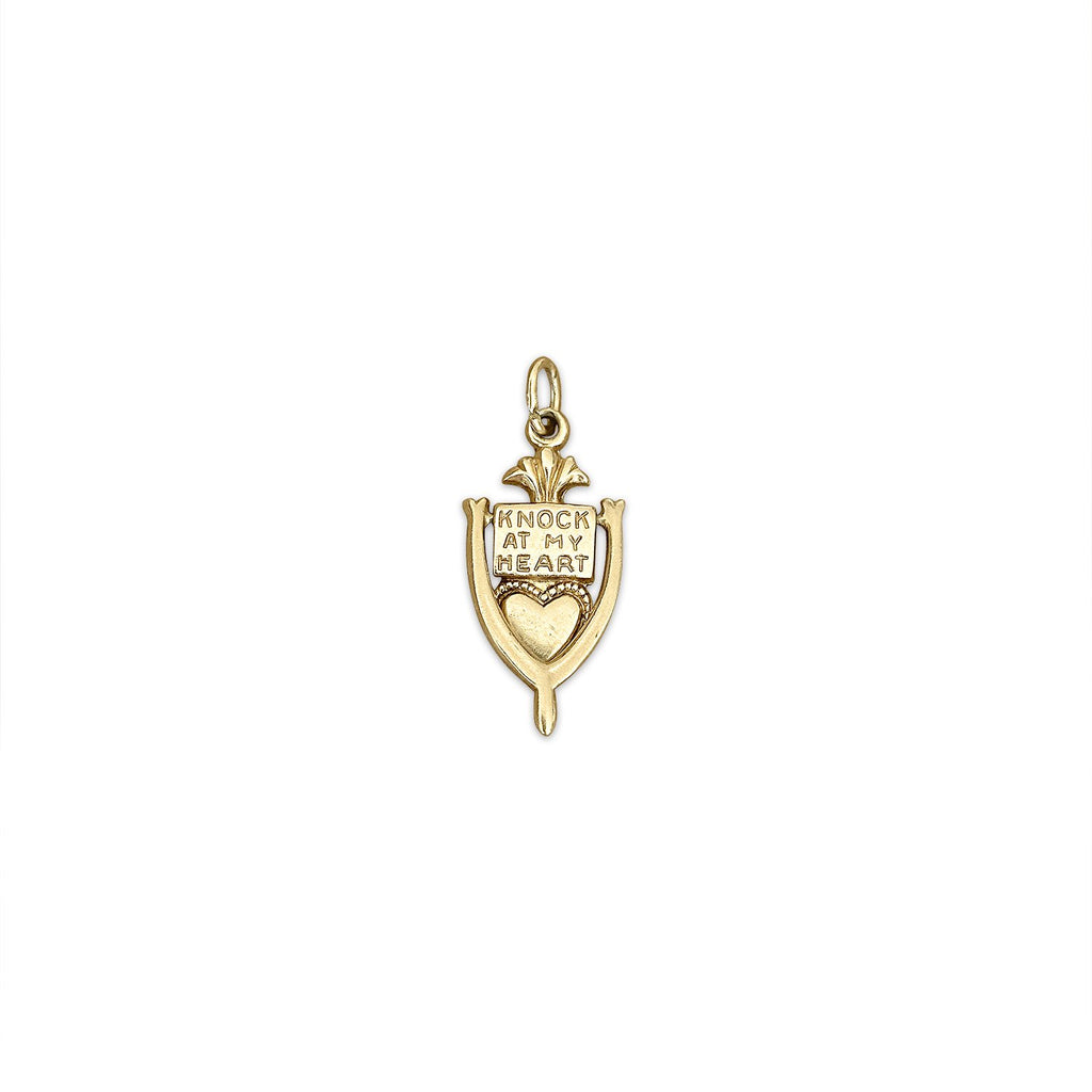 14k Gold Vintage Knock on my Heart Charm