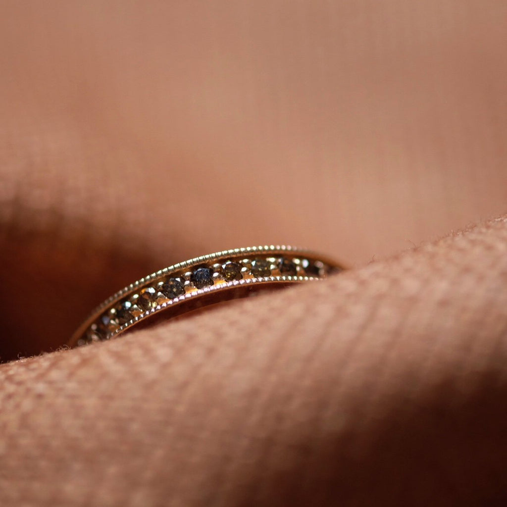 1.5mm Diamonds All Way Around Gold Ring