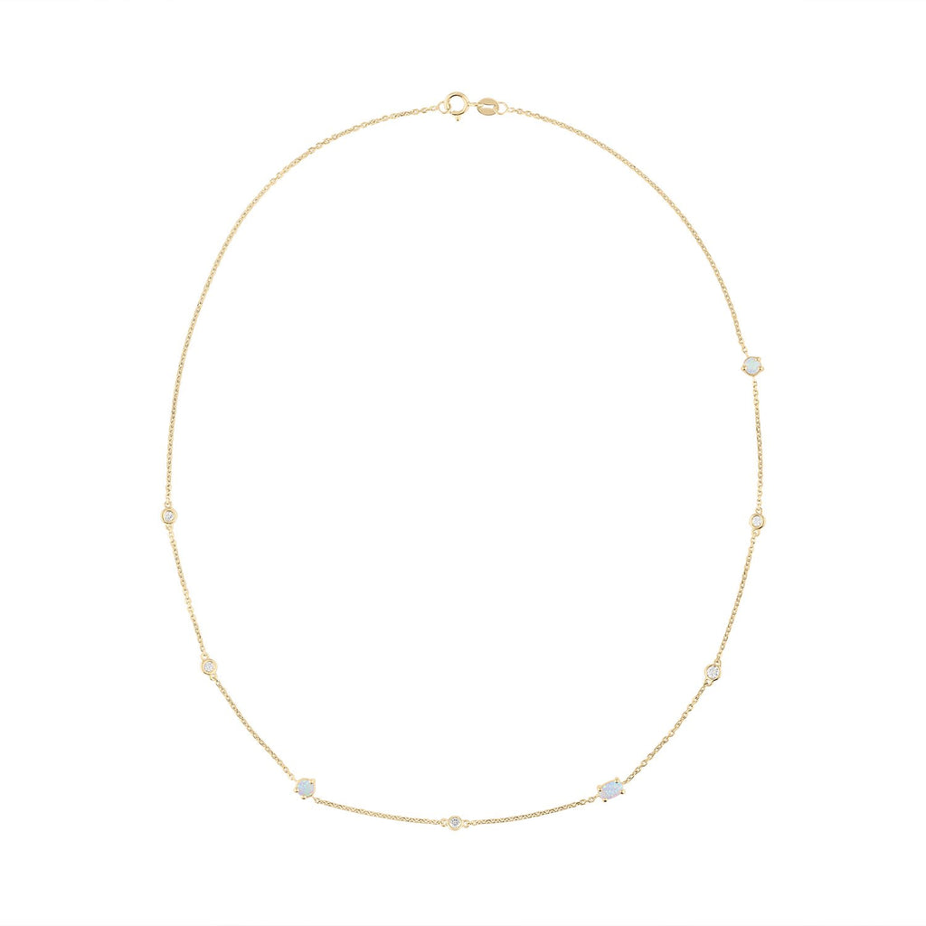 Scattered Diamond and Opal Necklace by Fewer Finer