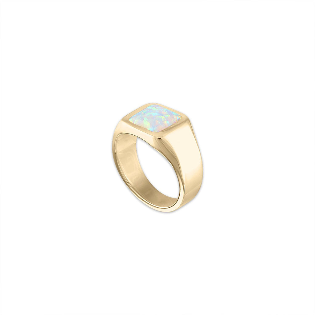 Opal Stamp Signet Ring by Fewer Finer