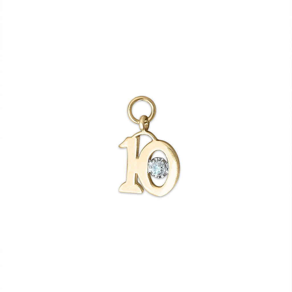 Vintage Diamond Number 10 Charm by Fewer Finer