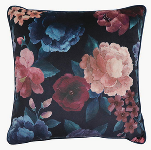 Eclipse Floral Ink/Blush Velvet Cushion