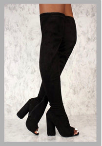 bed59ca12a11 Sexy Black Open Toe Thigh High Boots Circle Chunky Suede Heel – Roc ...