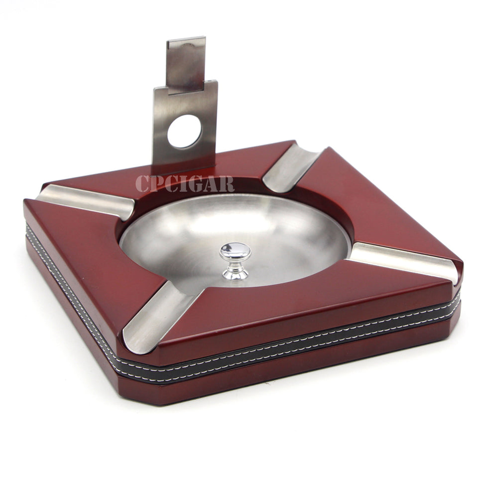 Luxury Wood Cigar & CIgarette Ashtray with Cigar Cutter