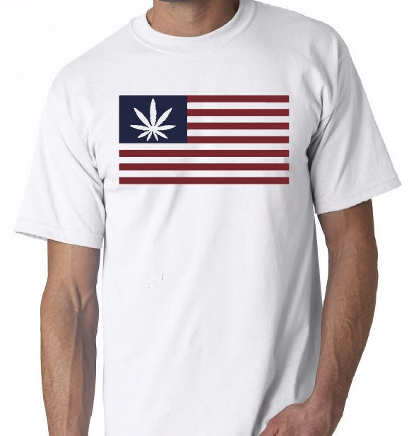 American Flag Cannabis Leaf T-Shirt