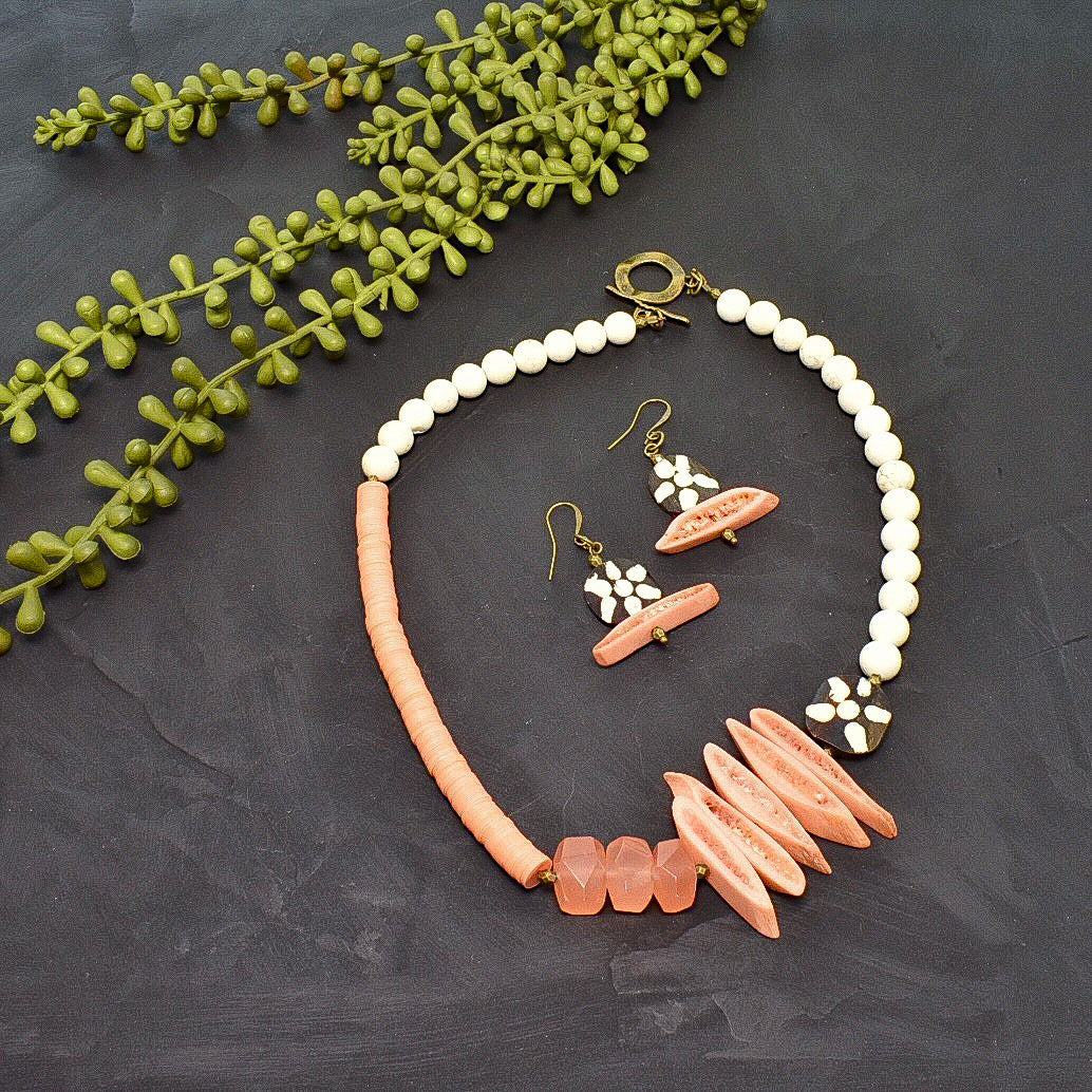 Peach Bohemian Structural Statement Necklace