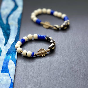 Blue and White Shield African Beaded Bracelet